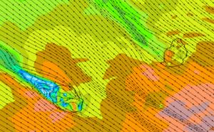 ILES SOEURS: simulation du modèle Arome/Météo France pour les rafales attendues entre 10h ce Vendredi et 16h Samedi.Les zones en rouge et rouge foncé sont ciblées par le modèle comme les plus exposées à des rafales comprises entre 80 et 100km/h. Notez que la Baie de Saint Paul dans l'Ouest Réunionnais restera bien protégée par le relief et donc sera déventée.Cliquez sur l'image pour l'animer si nécessaire.MCIEL.